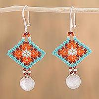 Sterling silver dangle earrings, 'Sunrise Diamonds' - Glass Beaded Sterling Silver Dangle Earrings from Mexico