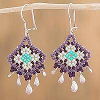 Sterling silver dangle earrings, 'Lilac Diamonds' - Diamond-Shaped Glass Beaded Silver Earrings from Mexico