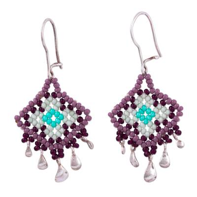 Diamond-Shaped Glass Beaded Silver Earrings from Mexico