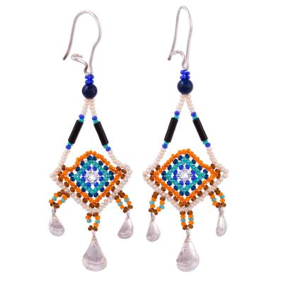 Agate and Glass Bead Dangle Earrings from Mexico