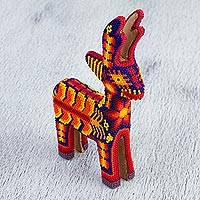 Huicho beadwork figurine, 'Wirikuta Sunset' - Handcrafted Huichol Glass Bead Deer Sculpture from Mexico