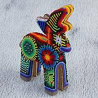 Huichol beadwork figurine, 'Sunrise Guide' - Huichol Glass Beadwork Floral Deer Sculpture from Mexico