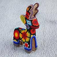 Huichol glass beadwork figurine, 'Deer Guide' - Huichol Glass Beadwork Colorful Deer Sculpture from Mexico