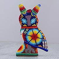 Huichol beadwork figurine, 'Nocturnal Vigilance' - Huichol Glass Beadwork Owl Sculpture from Mexico