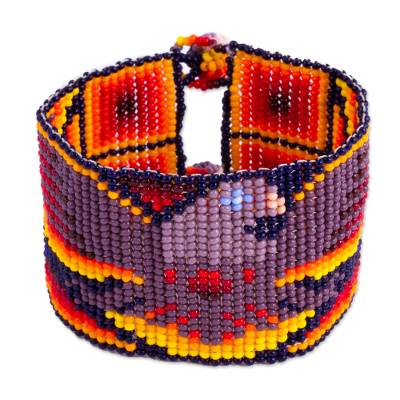Artisan Crafted Purple Orange Wide Beaded Eagle Wristband Bracelet