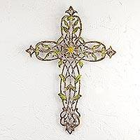Steel wall cross, 'Cross of My Country' - Steel Wall Cross with Floral and Leaf Motifs from Mexico