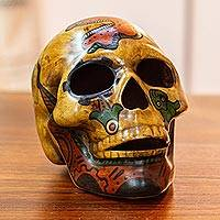 Ceramic sculpture, 'Ancestral Tradition' - Ceramic Skull Sculpture with Pre-Hispanic Motifs from Mexico