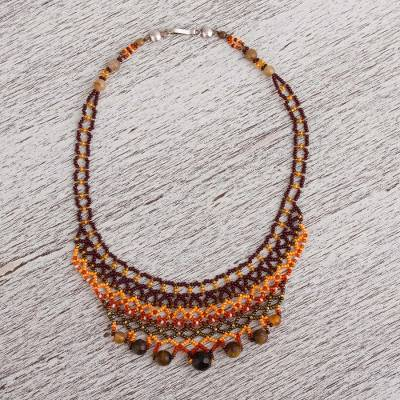 Tiger's eye and agate beaded necklace, 'Strength and Elegance' - Tiger's Eye and Agate Beaded Necklace from Mexico