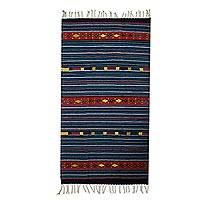 Wool area rug, 'Happiness of My Country' (3x5) - Striped Wool Area Rug in Blue and Red (3x5) from Mexico
