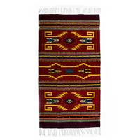 Wool area rug, 'Passion and Tradition' (3x5) - Handmade Geometric Wool Area Rug in Maroon (3x5) from Mexico