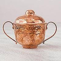Copper sugar bowl, 'Fire's Gleam' - Handcrafted Hammered Copper Sugar Bowl from Mexico