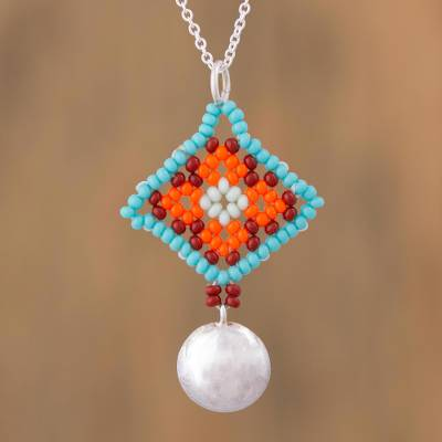 Sterling silver pendant necklace, 'Sunrise Diamonds' - Sterling Silver Modern Mexican Beaded Huichol Necklace