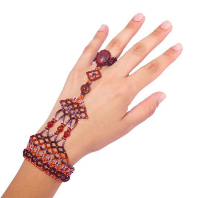 Hand-Beaded Harem Bracelet with Agate and Carnelian