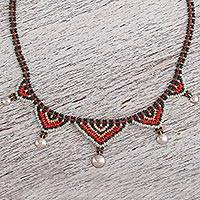 Glass beaded collar necklace, 'Huichol Aura' - Handcrafted Huichol Style Beaded Collar Necklace