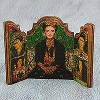 Decoupage triptych, 'Five Fridas' - Handcrafted Frida Kahlo Decoupage Mini-Screen Triptych
