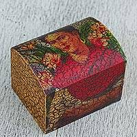 Decoupage box, 'Frida Kahlo with Flowers' - Artisan Handcrafted Frida Kahlo Theme Decoupage Box
