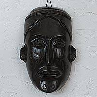 Ceramic mask, 'The Face of History' - Handcrafted Black Pottery Pre-Hispanic Mask in Barro Negro