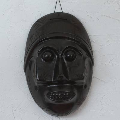 Ceramic mask, 'Aztec Ancestors' - Handcrafted Black Pottery Mask in Mexican Barro Negro