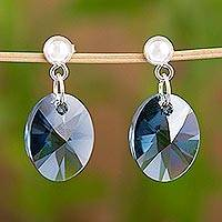 Sterling silver dangle earrings, 'Caribbean Mist' - Blue Swarovski Crystal Handcrafted Earrings in 925 Silver