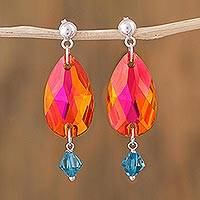 Sterling silver dangle earrings, 'Astral Flame' - Artisan Crafted Swarovski Crystal Dangle Earrings