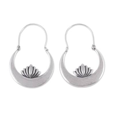 Handcrafted Sterling Silver Lotus Flower Hoop Earrings