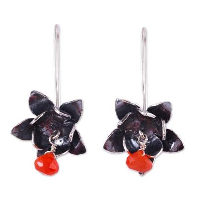 Floral Dangle Earrings in 925 Silver and Carnelian