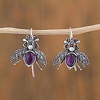 Amethyst and cultured pearl drop earrings, 'Makech' - Amethyst and Cultured Pearl Sterling Silver Beetle Earrings