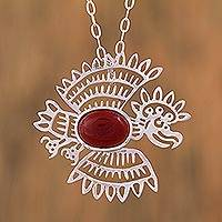 Carnelian pendant necklace, 'Zempoala Eagle' - Mexico Archaeology Carnelian Bird Necklace in Silver 925