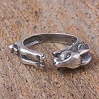Sterling silver wrap ring, 'Rabbit of Abundance' - Sterling Silver Rabbit-Shaped Wrap Ring from Mexico