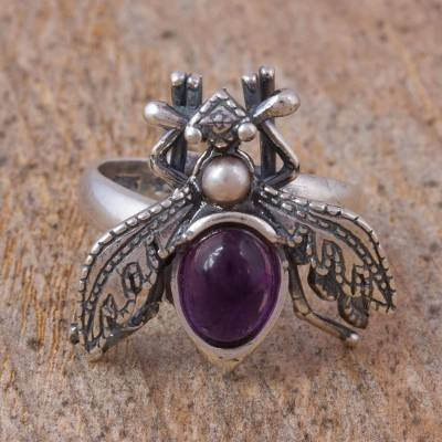 Amethyst and cultured pearl wrap ring, 'Makech' - Amethyst and Cultured Pearl Sterling Silver Beetle Ring