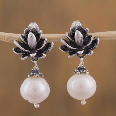 Cultured pearl dangle earrings, 'A Pure Love' - Artisan Handcrafted Lotus Earrings with Cultured Pearls