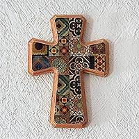 Decoupage wall cross, 'Puebla Heritage' - Handcrafted Decoupage Wall Cross with Puebla Tile Motifs