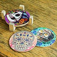 Decoupage coasters, 'Festival of the Dead' (set of 4) - Day of the Dead Decoupage Boasters and Stand (Set of 4)