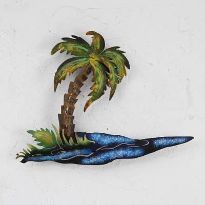 Steel wall art, 'Tropical Palm' - Tropical Metal Wall Sculpture of Palm Tree and Sea