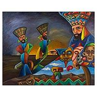 'Chinelo Dance' - Original Surreal Oil Painting of Mexican Folk Dancers