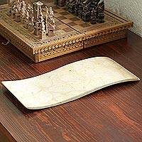 Marble tray, 'Earth's Whisper' - Modern Rectangular Tray in Natural Mexican Marble