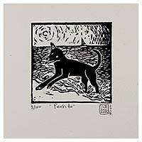 'Little Dog' - Mexico Fine Art Linoleum Print Dog Painting by NOVICA