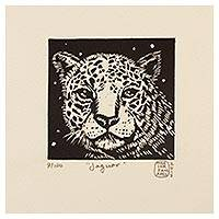 'Jaguar' - Mexico 4-Inch Signed Linoleum Block Print of a Jaguar