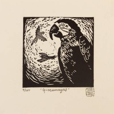 'Macaws' - Signed Black and White Linoleum Block Print of Birds