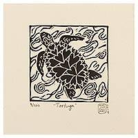 'Turtle' - Turtle Hearts Black and White Signed Linoleum Block Print