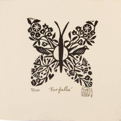 'Farfalla ' - Signed 4-Inch Linoleum Block Print of a Butterfly with Birds
