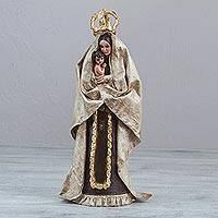 Papier mache sculpture, 'Virgin of Carmen' - Artisan Handcrafted Christian Art Sculpture of the Virgin