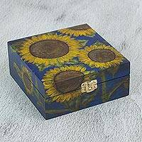 Decorative wood box, 'Sunflower Morn' - Hand Painted Decorative Sunflower Chest in Blue
