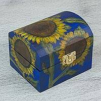 Wood box, 'Sunflower Sky' - Hand Painted Petite Decorative Chest in Blue