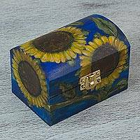Wood box, 'Petite Sunflowers' - Hand Painted Blue Decorative Box with Sunflowers