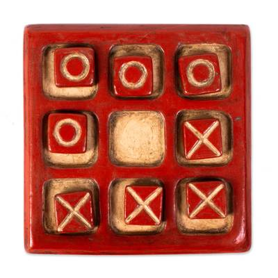 Burnished Ceramic Tic-Tac-Toe Board from Mexico