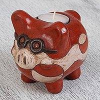 Ceramic tealight holder, 'Intellectual Pig' - Handcrafted Ceramic Pig Tealight Holder from Mexico