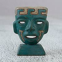 Ceramic mask, 'Teotihuacan Teal' - Teal Green Handcrafted Ceramic Mask from Mexico