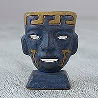 Ceramic mask, 'Teotihuacan Blue' - Aztec Inspired Blue Ceramic Mask for Tabletop Display