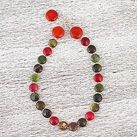 Agate and carnelian beaded necklace, 'Fiesta of Colors' - Multi-color Agate Choker Necklace with Carnelian
